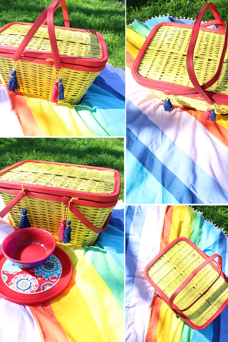 collage of photos showing a red and yellow picnic basket on a rainbow blanket outdoors
