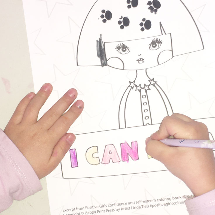 Little girls hand shown coloring I Can Dream printable