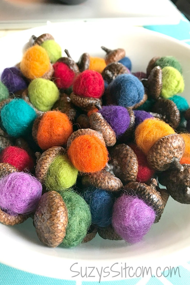 Create colorful home decor using wool roving and acorn caps.  Nature crafts are fun to make - this is how to make felted acorns!