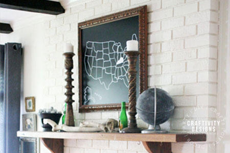 Painted Brick Fireplace by Craftivity Designs