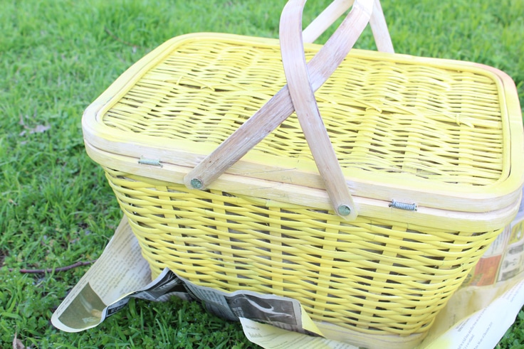 yellow picnic basket on green grass