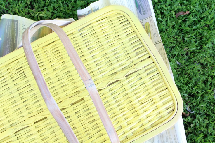yellow picnic basket lid from above