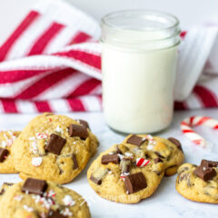 Chocolate Chunk Cookies with the taste of mocha and peppermint along with a glass of milk