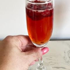 raspberry mimosa being held