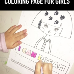 Little girl hands shown coloring I Can Dream printable coloring page