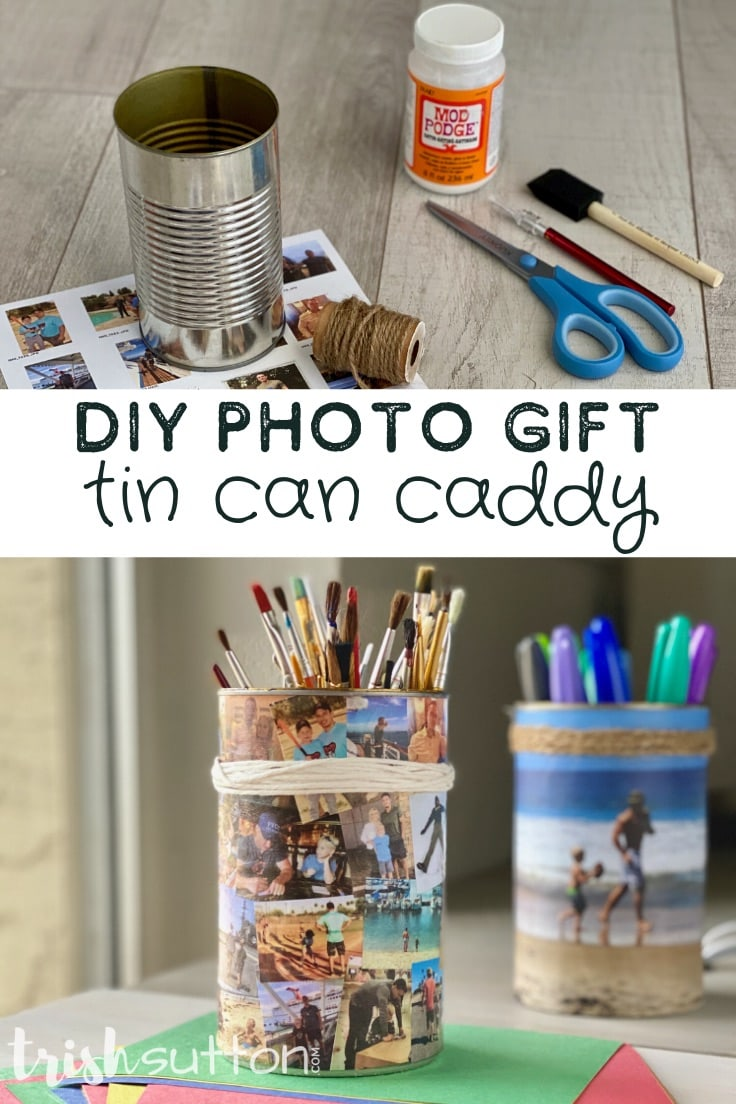 Collage of two images; one with supplies needed to make a photo caddy and the other image is of two DIY photo caddies.