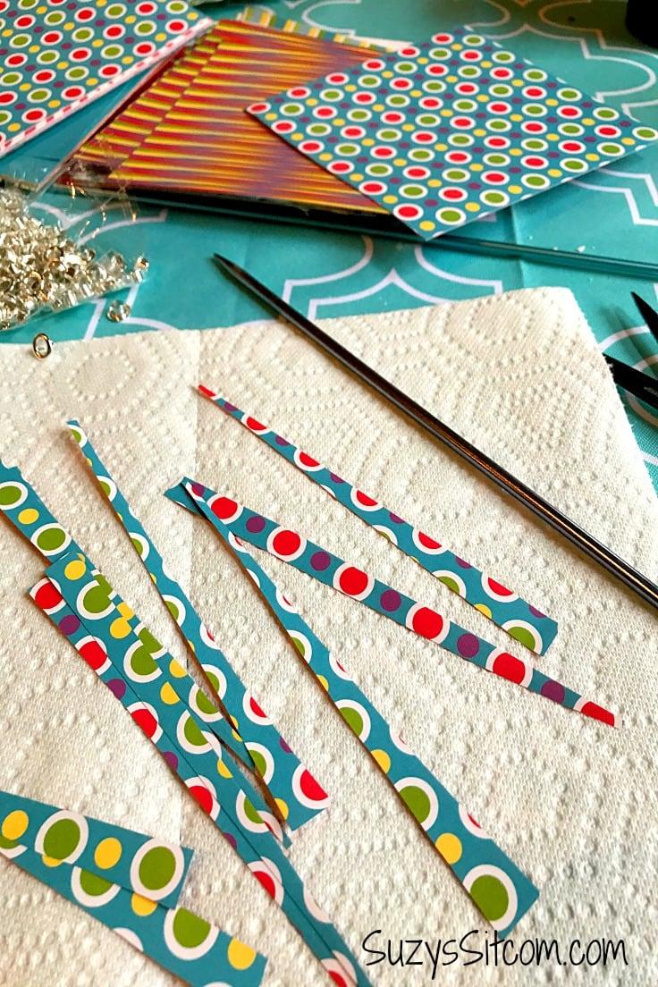 Scrapbook paper cut diagonally