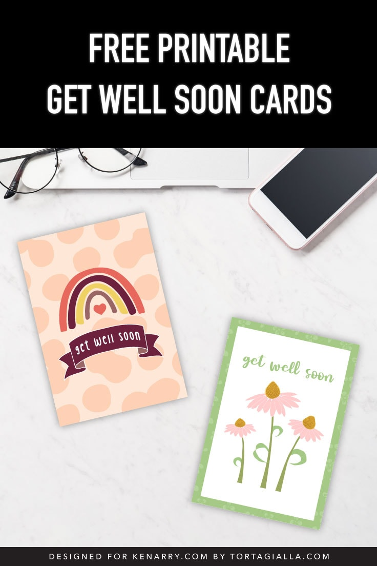 Desk with computer, glasses and phone with two get well soon card designs.