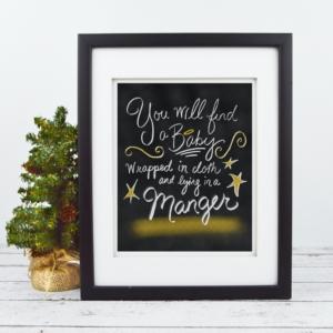 Baby Jesus in a Manger - Christmas - Chalkboard Print - Digital Art