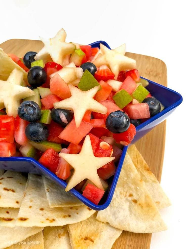 Patriotic fruit salad with blueberries, strawberries, and watermelon