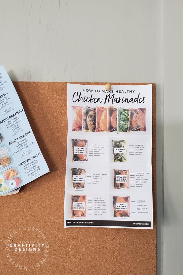 Kitchen Memo Board with Recipes by Craftivity Designs