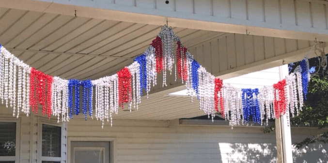 A garland made out of beaded necklaces