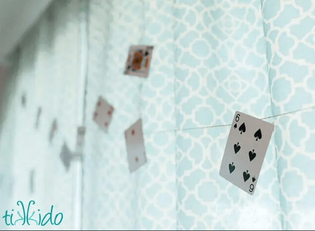 A playful garland made out of a a deck of cards