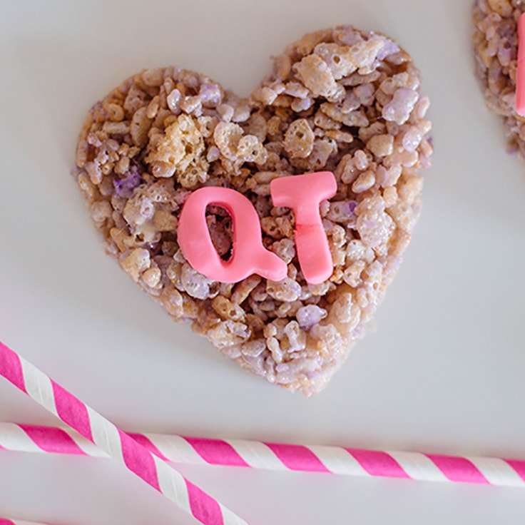 Conversation Hearts Rice Cereal Treats for Valentine's Day