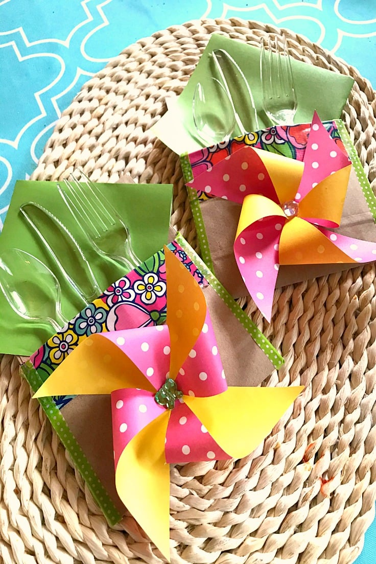 colorful pinwheels as utensil holders