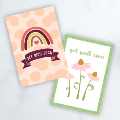 Preview of two get well soon card designs.