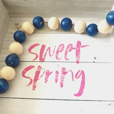 sweet spring with wood beads