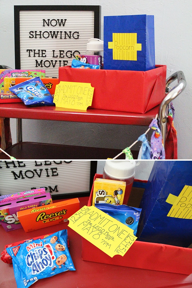 Snacks and decor for a LEGO family movie night at home