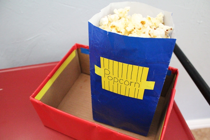 a blue bag filled with popcorn
