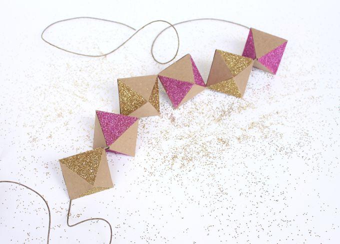 A glittery geometric garland