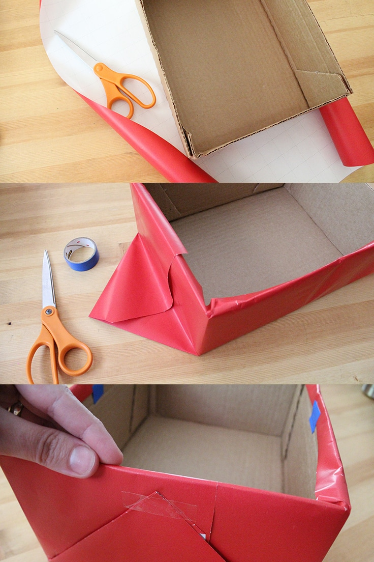 3 steps to wrapping a cardboard box with wrapping paper on 3 sides