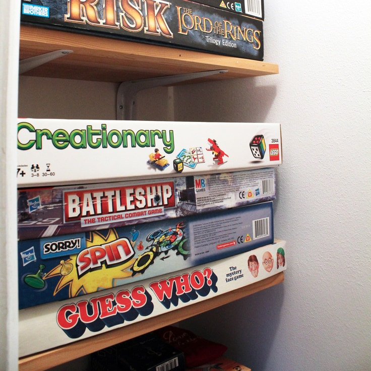 Organized Game Closet Makeover for Board Game Storage