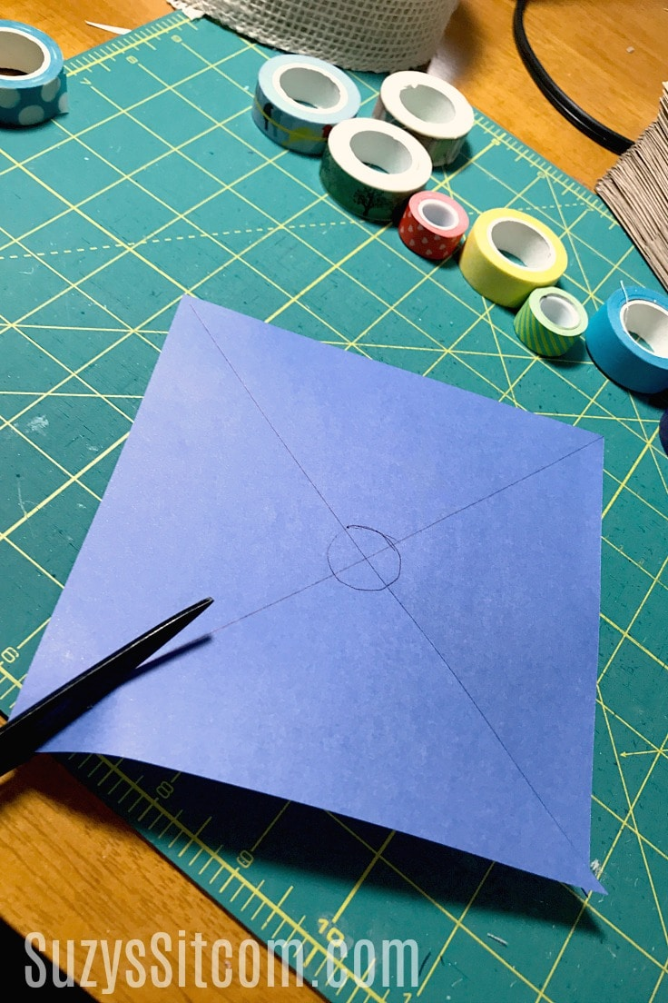 Cutting out paper pinwheels