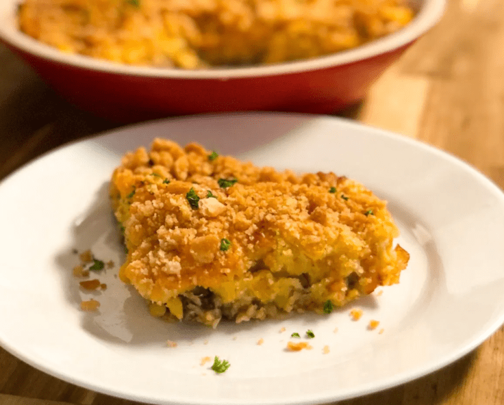 Ritz cracker cornbread and beef casserole