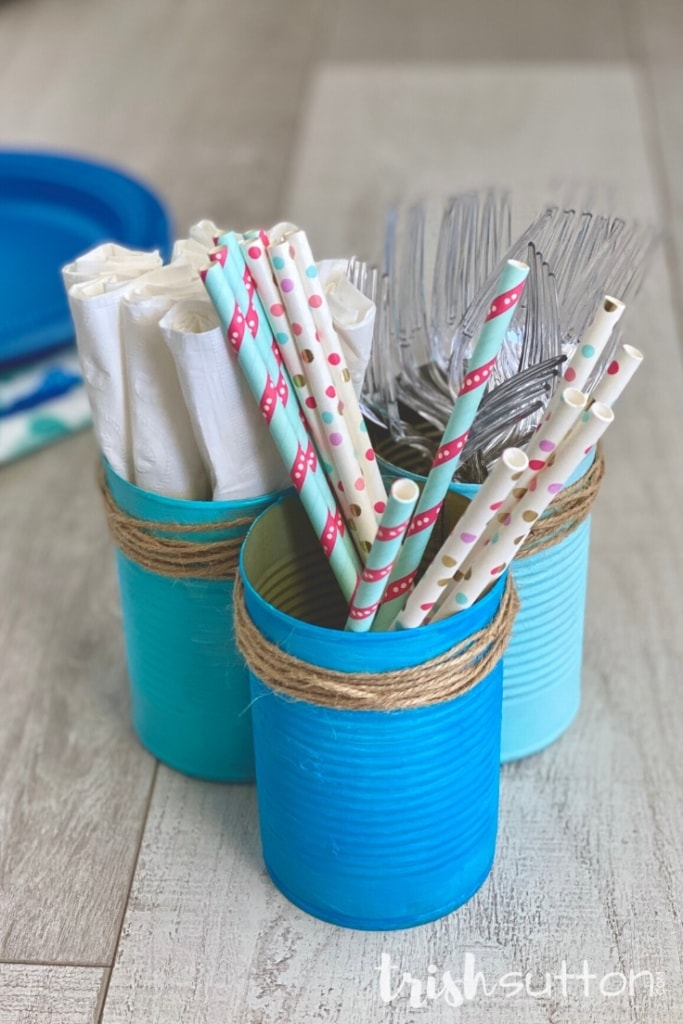 Painted in cans filled with straws, napkins & forks on a wood background.