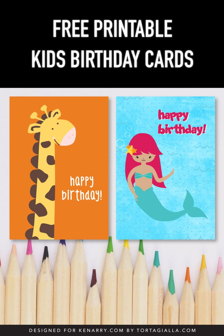 Preview of two kids birthday card designs - giraffe happy birthday and mermaid happy birthday.