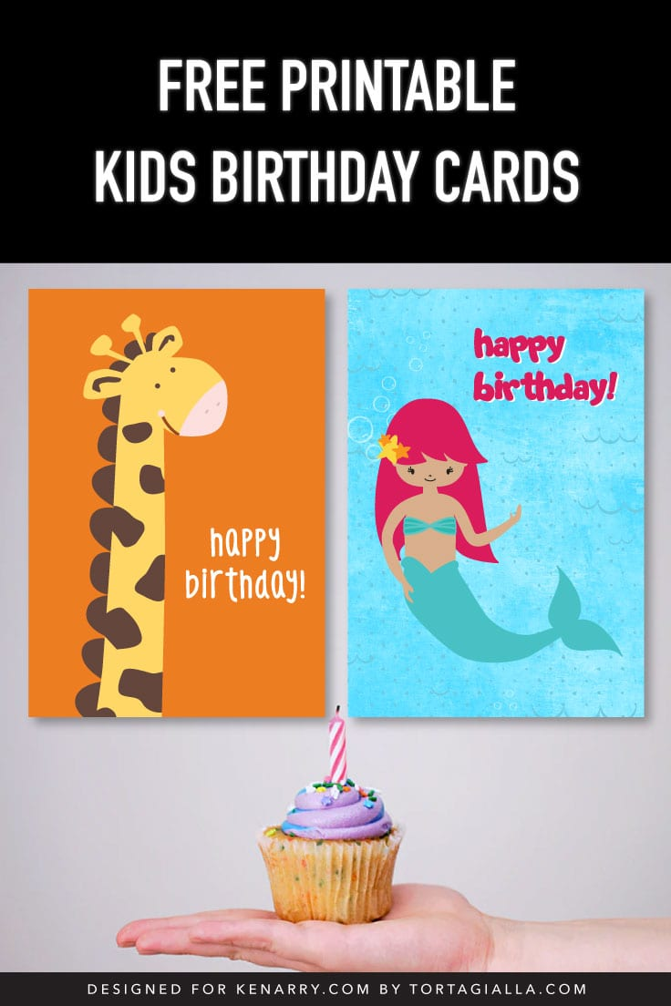 Preview of giraffe and mermaid happy birthday card designs for kids on the background of a hand holding a cupcake with candle.
