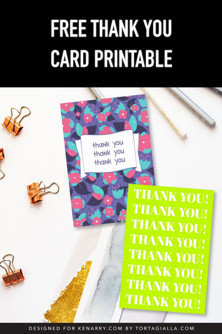 Preview of two printable thank you card designs on desk with stationery supplies.