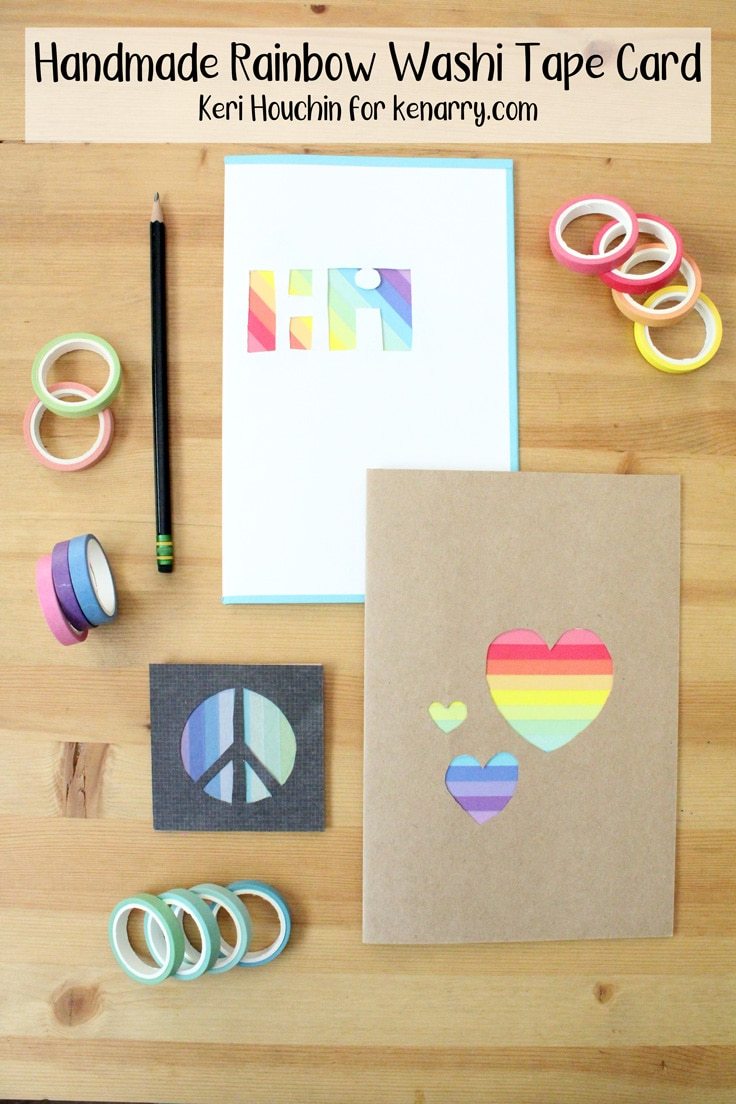 handmade washi tape card in 3 designs with rainbow colored stripes