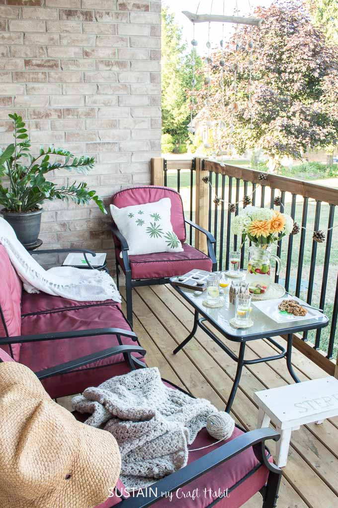 A grown-up patio decorated with flowers