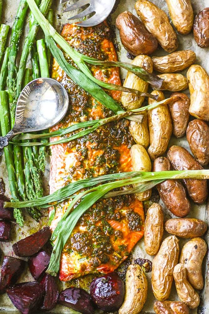 Roasted salmon sheet pan with fingerling potatoes