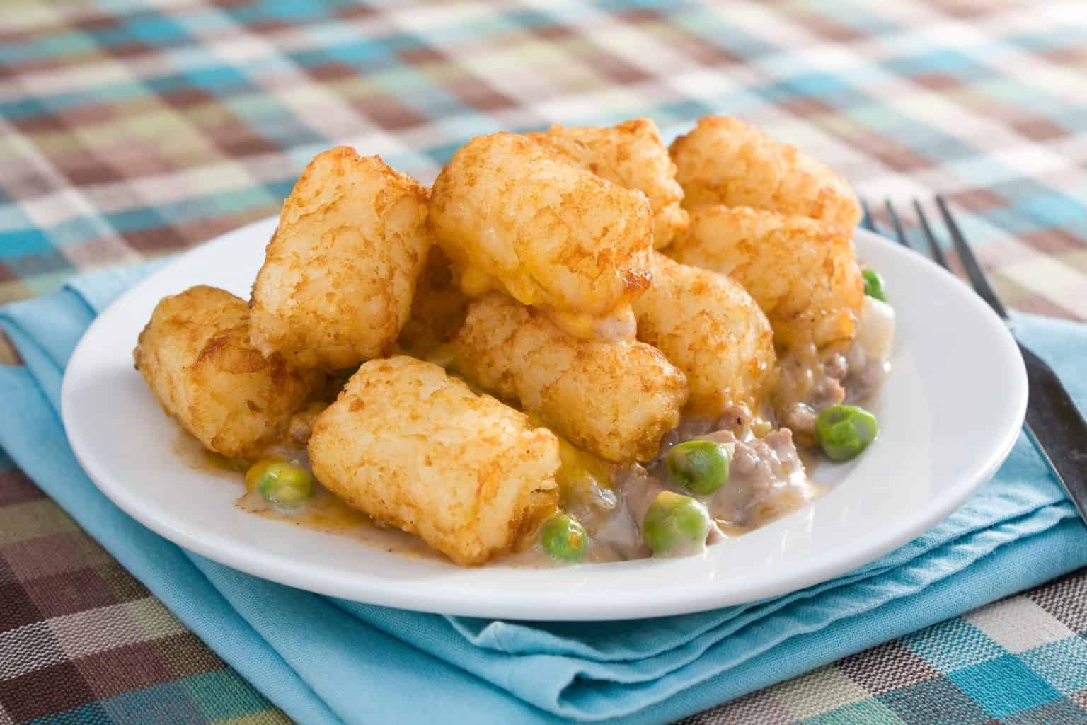A plate of tater tot casserole