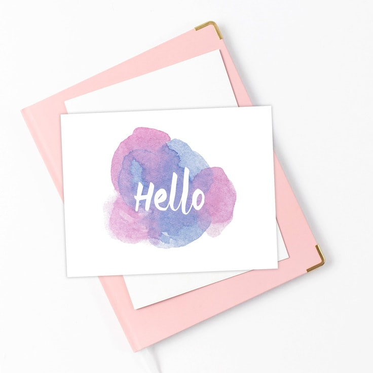 purple watercolor postcard with text Hello