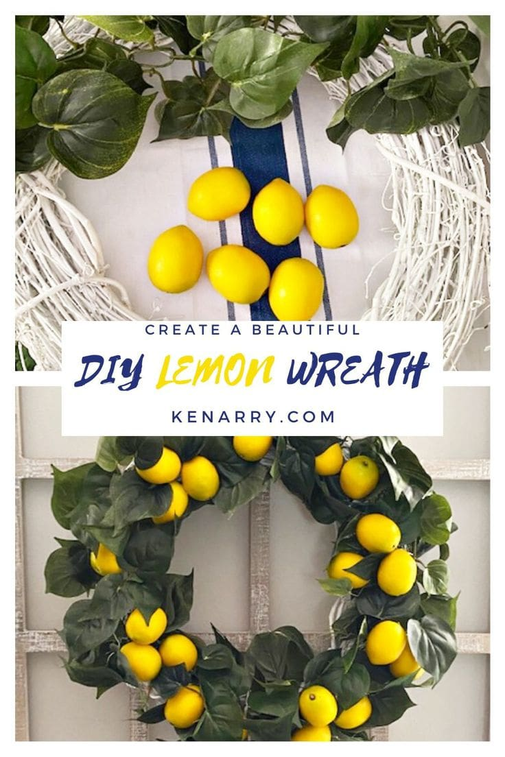 diy lemon wreath before and after