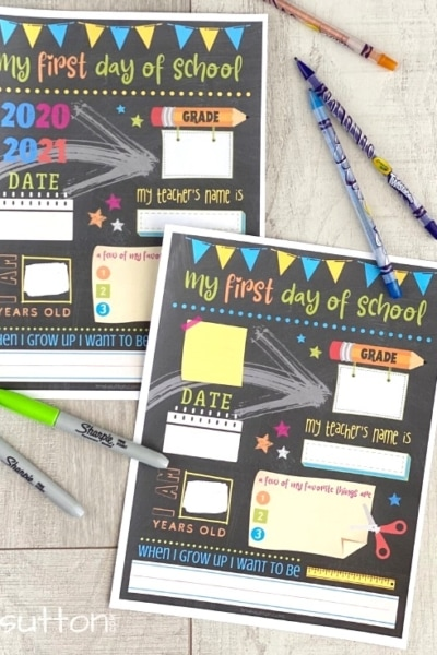Two back to school printables with markers and crayons on a wood background.