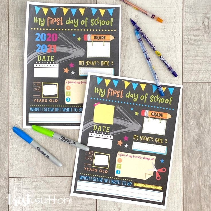 First Day of School Chalkboard Free Printable