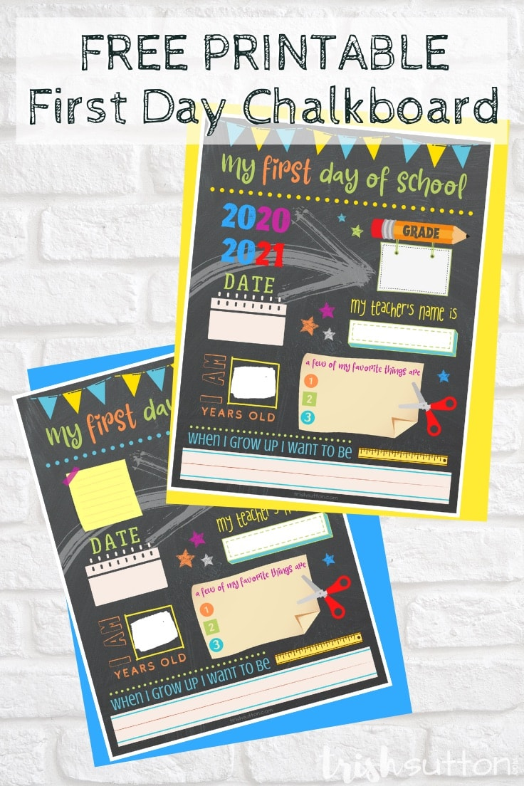 Brick background with clipart images of first day of school about me chalkboards.