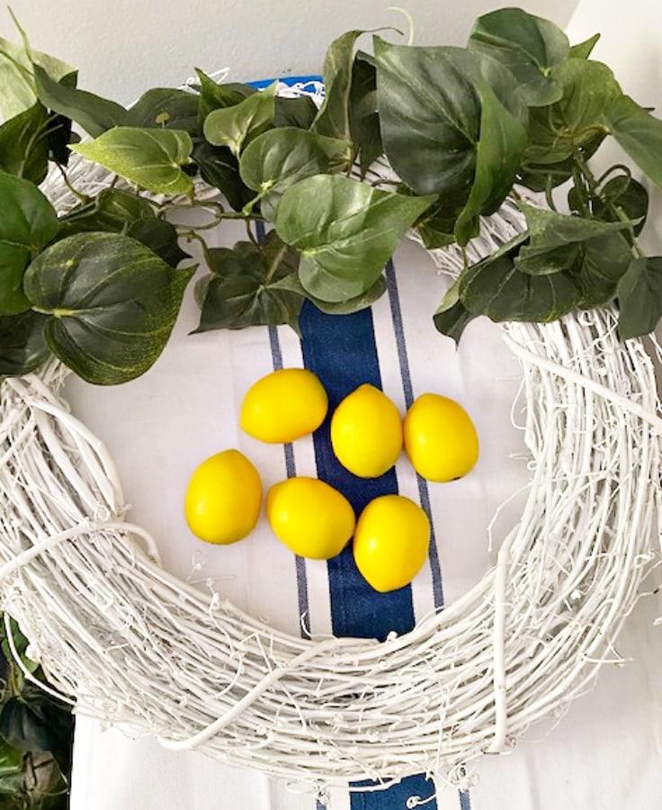 materials needed for DIY lemon wreath