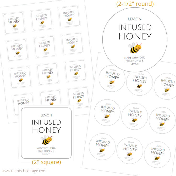 Lemon Infused Honey printable labels in two sizes.