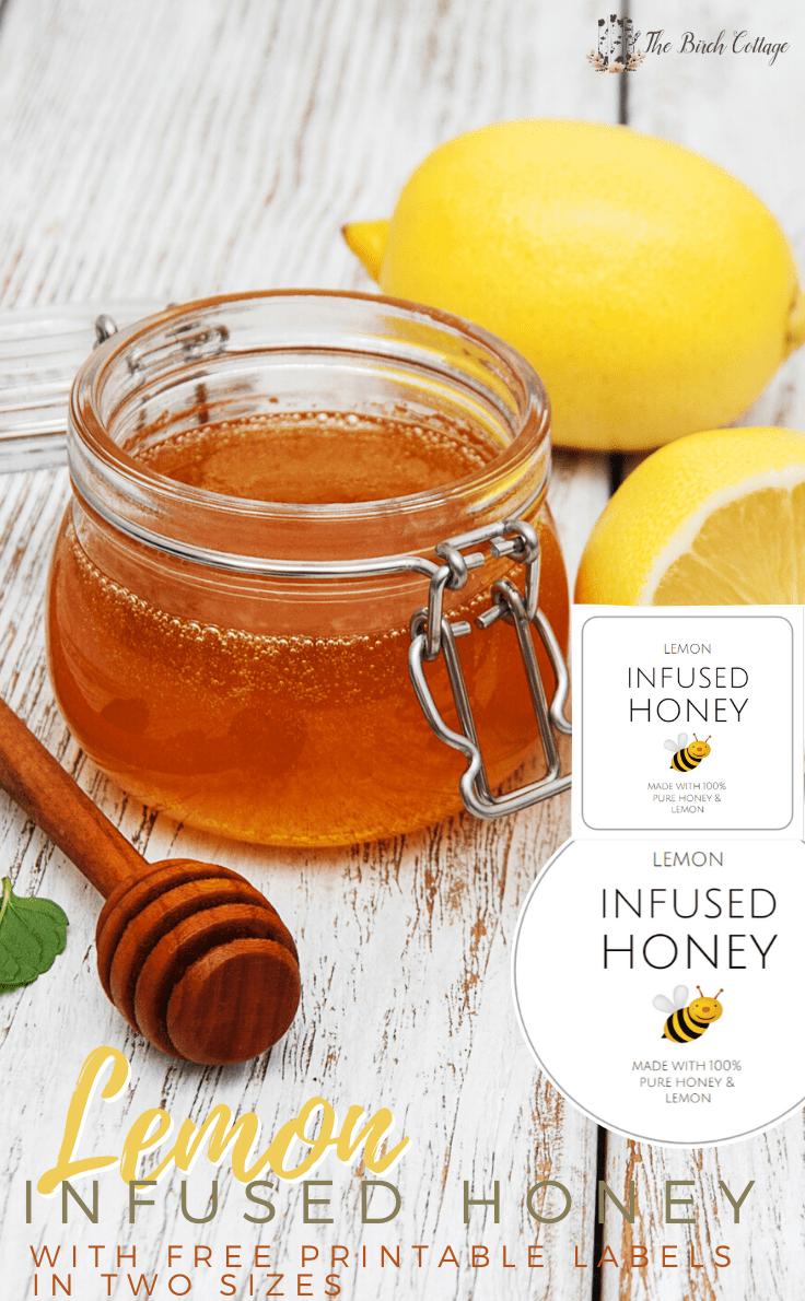 Weck jar of lemon infused honey with honey dipper and lemons