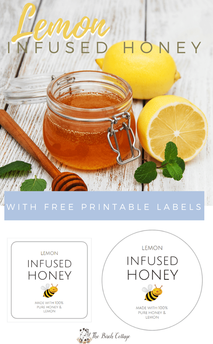Weck jar of honey with honey dipper and lemons and two styles of printable labels