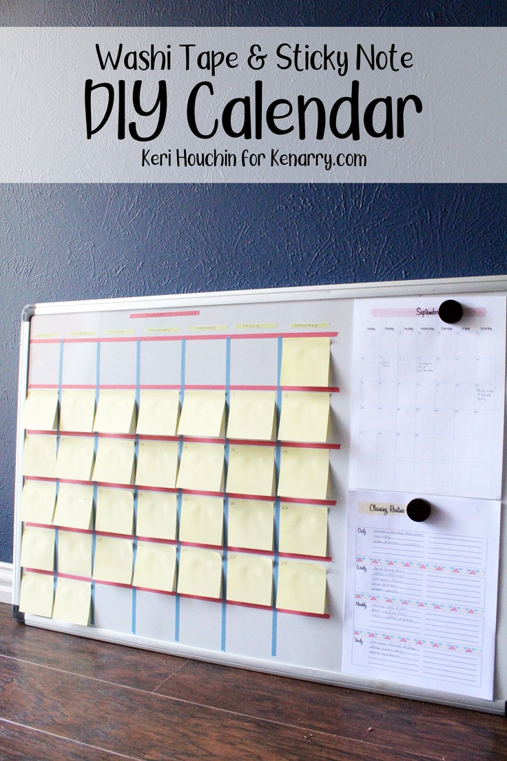 DIY calendar made from washi tape and sticky notes on a dry erase board