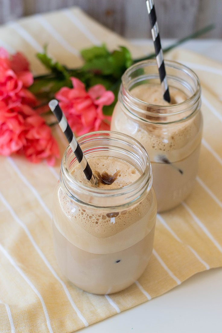 Topped with a hefty amount of milk and a garnish of brown sugar, this simple Greek-style frappe drink is just what you need on hot summer months.