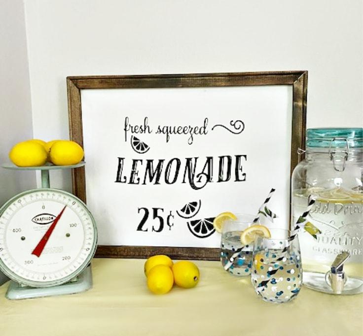 reverse canvas lemonade sign