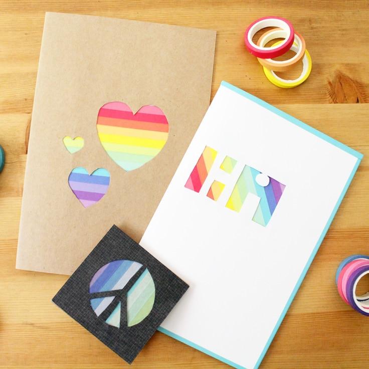 Handmade Rainbow Washi Tape Card Tutorial