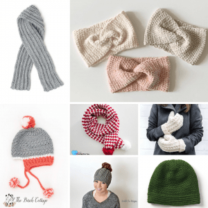 scarves, hats, mittens and ear muffs crocheted